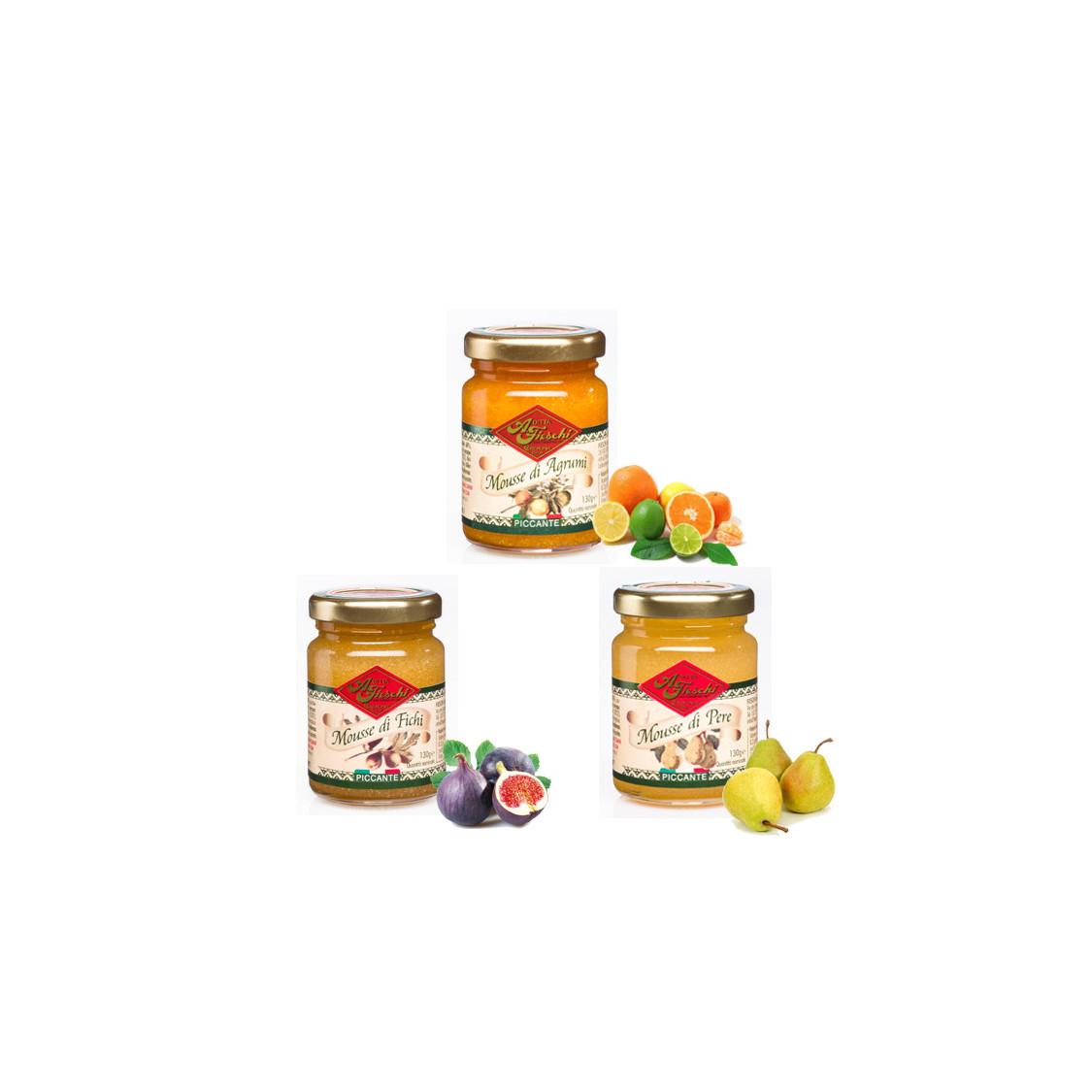 FIESCHI Confezione tris Mousse di frutta piccanti - 3 x 130 gr.
